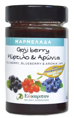 Μαρμελάδα με ελληνικά φρούτα goji, μύρτιλο, αρώνια χωρίς ζάχαρη 220gr - μέλια - σιρόπια