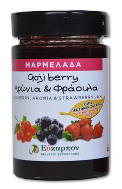 Μαρμελάδα Με Ελληνικά Φρούτα Goji, Αρώνια, Φράουλα Χωρίς Ζάχαρη 220Gr  - μέλια - σιρόπια