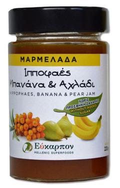 Μαρμελάδα Με  ιπποφαές, μπανάνα, αχλάδι Χωρίς Ζάχαρη 220Gr  - μέλια - σιρόπια