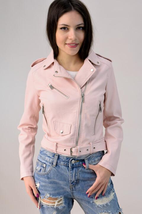 Βiker jacket - Απαλό Ροζ