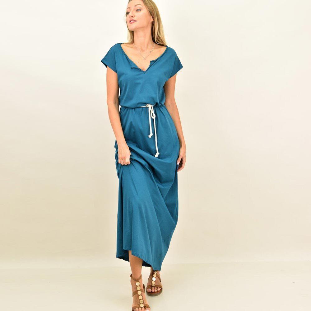 Μακρύ φόρεμα με ζώνη και ανοιχτό μπούστο