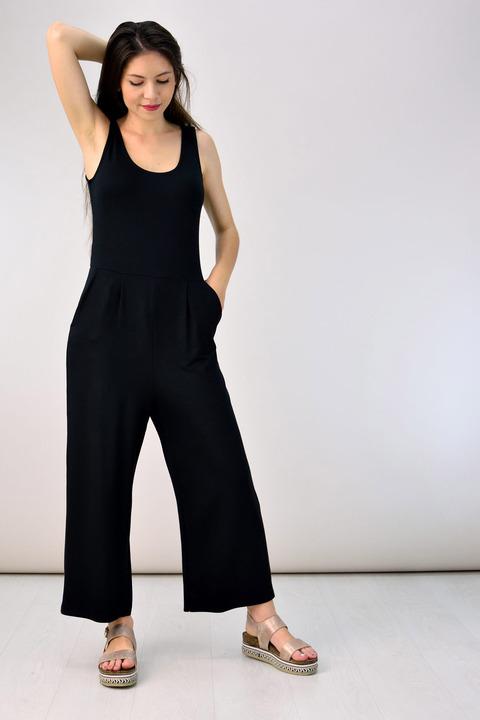 Ολόσωμη φόρμα ζιπ κιλότ - Μαύρο