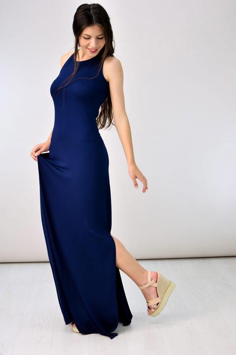 Maxi φόρεμα με δαντέλα στη πλάτη - Μπλε Σκούρο