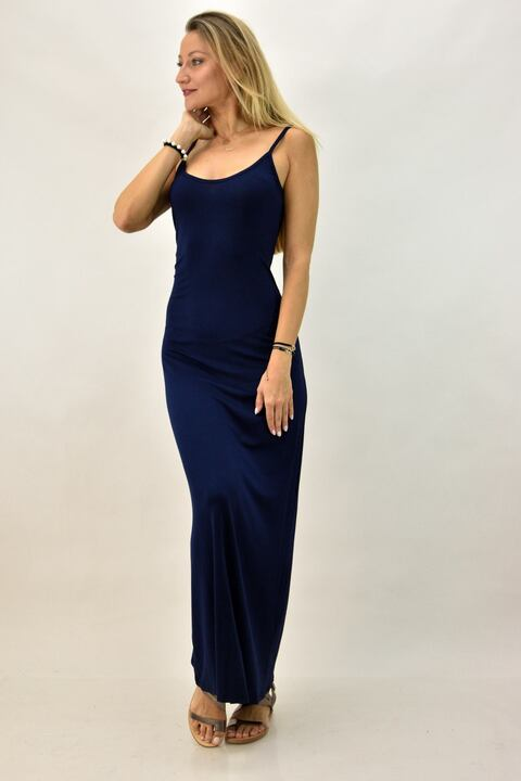 Μακρύ φόρεμα με μεγάλο άνοιγμα πλάτης - Μπλε Σκούρο