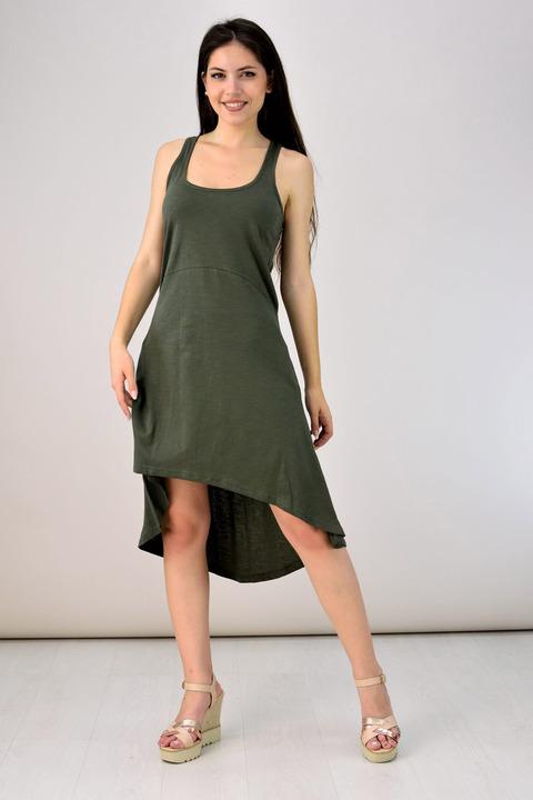 Ασύμμετρο φόρεμα - Χακί