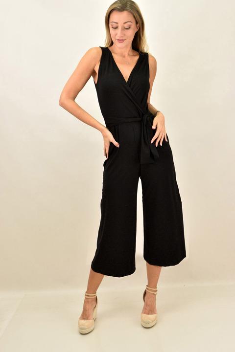Κρουαζέ φόρμα ζιπ κιλότ - Μαύρο