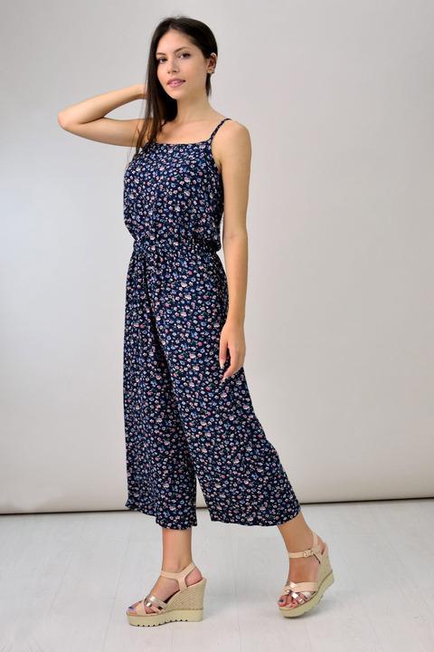 Ολόσωμη φόρμα zip culotte - Μπλε Ρουά