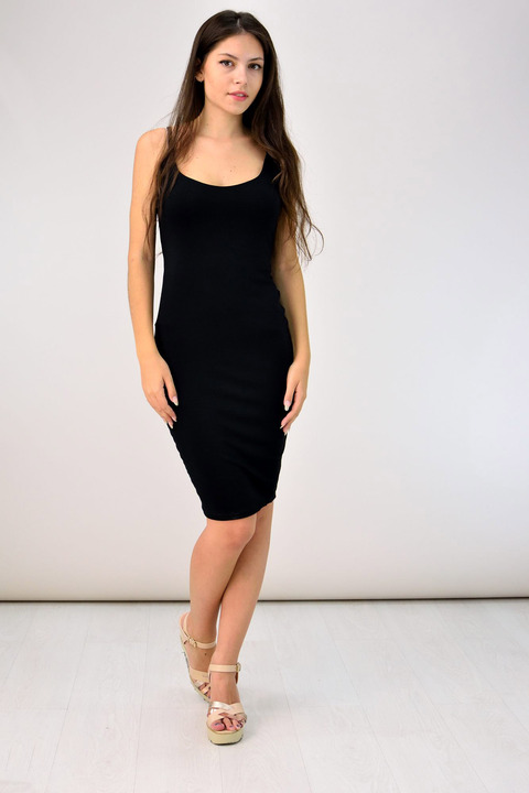 Midi εξώπλατο φόρεμα - Μαύρο