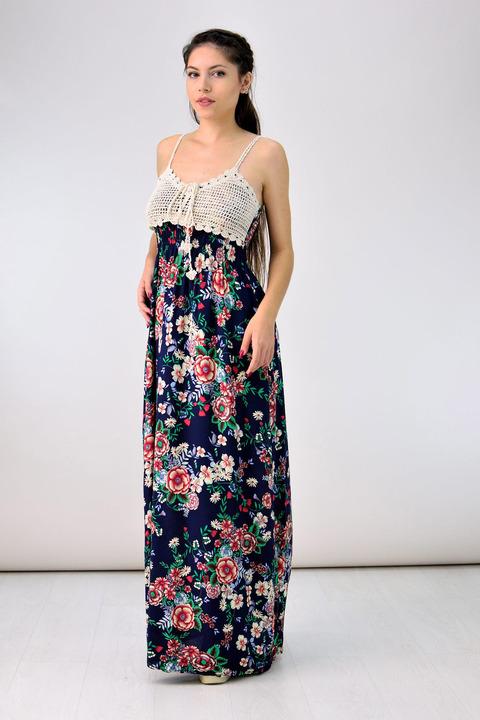 Μακρύ φλοράλ φόρεμα - Μπλε σκούρο