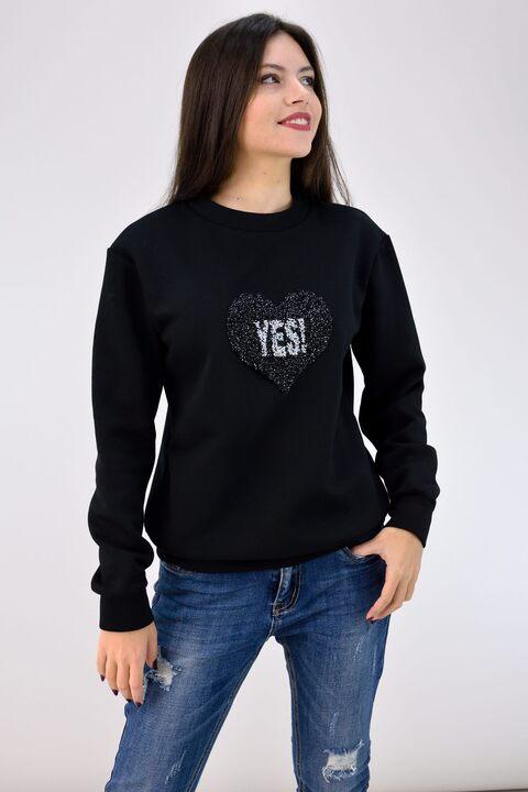 Μπλούζα φούτερ με μοτίφ - Μαύρο