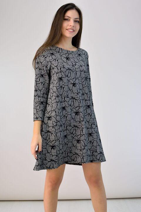 Φόρεμα καρό με λουλούδια - Ανθρακί