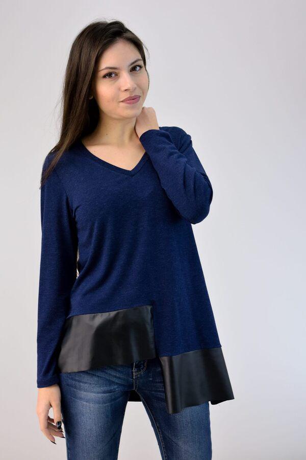 ac929ea262cb Μπλούζα με δερματίνη - Μπλε Σκούρο ...