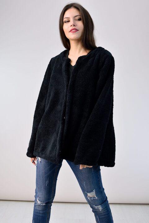 Γούνινη ζακέτα  fleece - Μαύρο