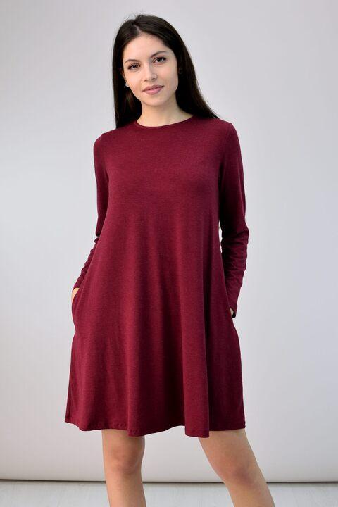 Κοντό φόρεμα ριχτό - Μπορντώ