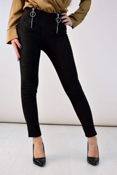 Suede παντελόνι - Μαύρο