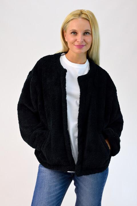 Γούνινη ζακετα fleece - Μαύρο