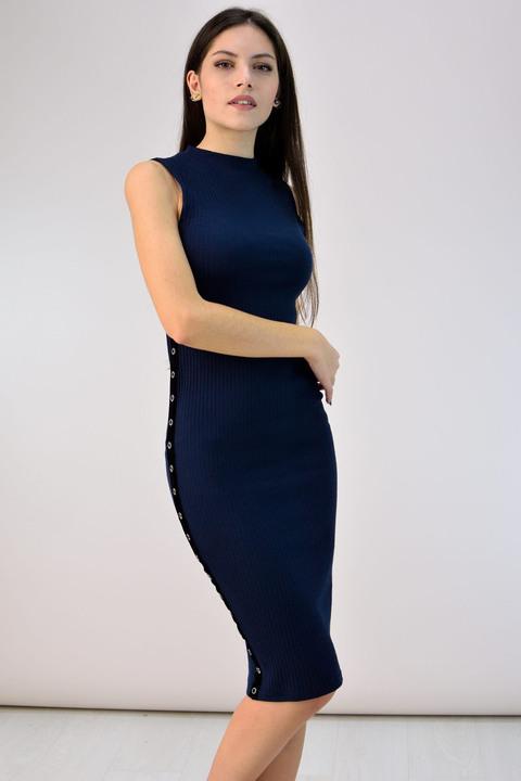 Φόρεμα με γραμμή pencil - Μπλε Σκούρο