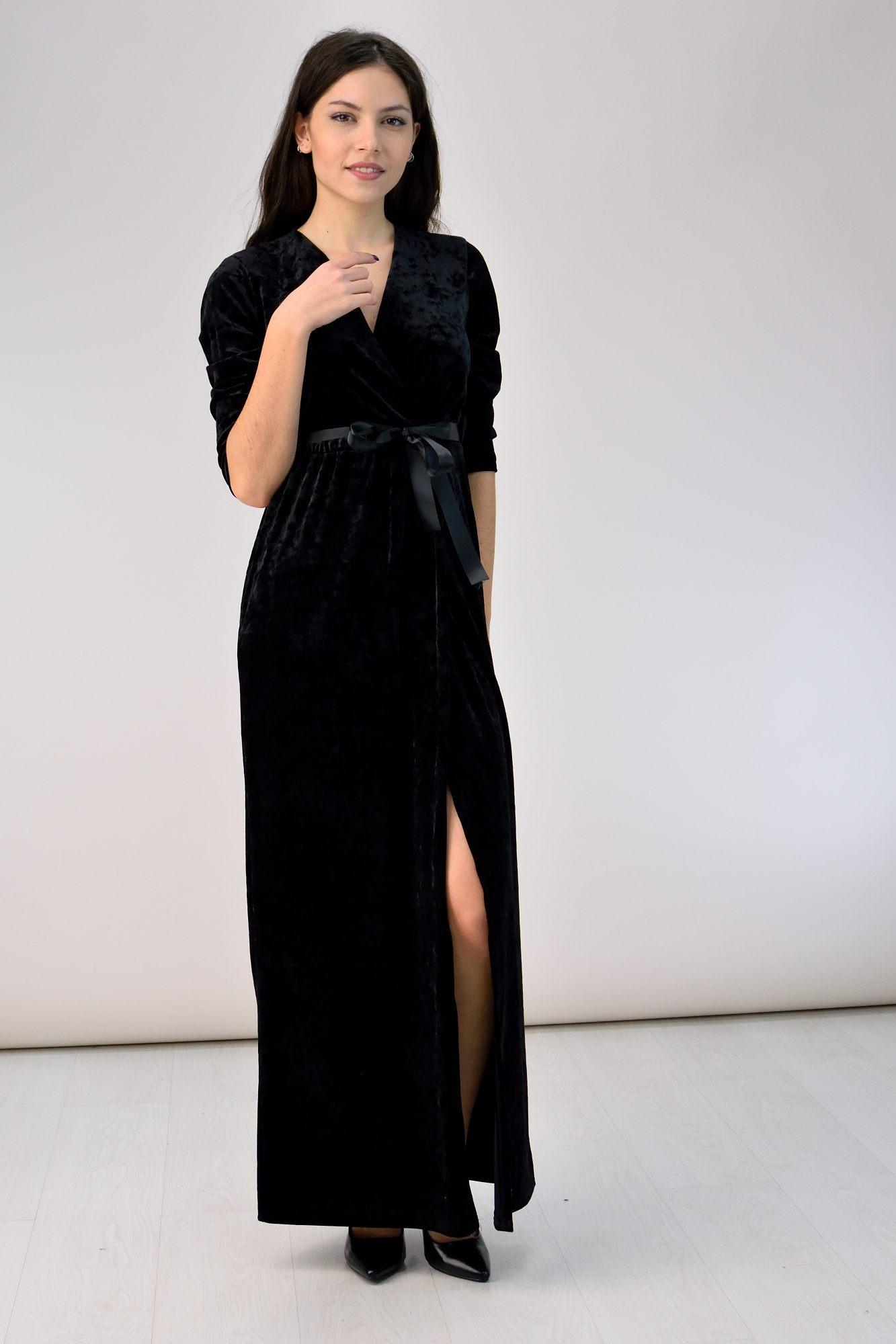 6a52cb459136 Κρουαζέ φόρεμα από βελούδο μαύρο - ΦΟΡΕΜΑΤΑ
