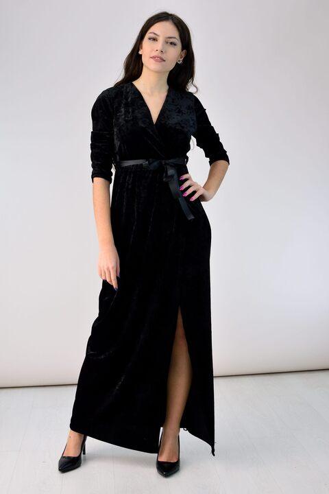 Κρουαζέ φόρεμα από βελούδο - Μαύρο