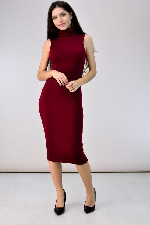 Midi φόρεμα με ζιβάγκο - Μπορντώ