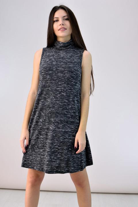 Mini φόρεμα με λαιμό ζιβάγκο - Μαύρο