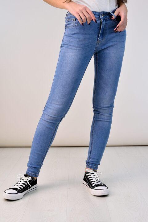 Τζιν παντελόνι skinny με κανονική μέση - Μπλε Τζιν