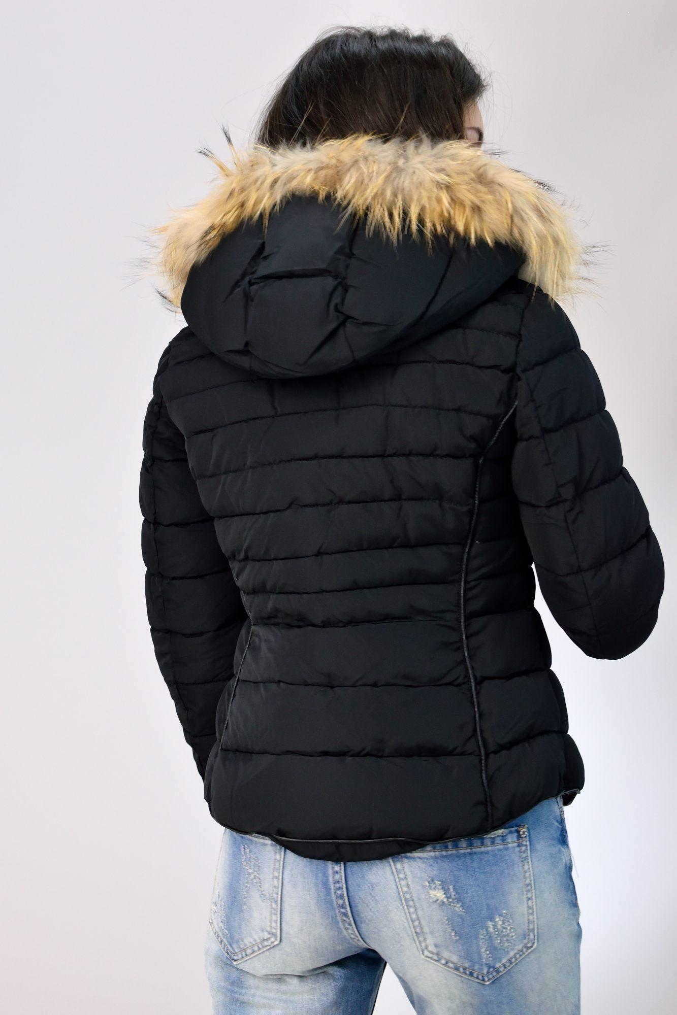 cf262dcd98 Καπιτονέ μπουφάν με κουκούλα μαύρο - Γυναικεία μπουφάν