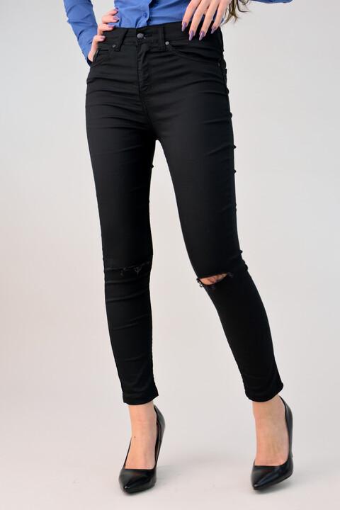Παντελόνι υφασμάτινο με σκίσιματα - Μαύρο