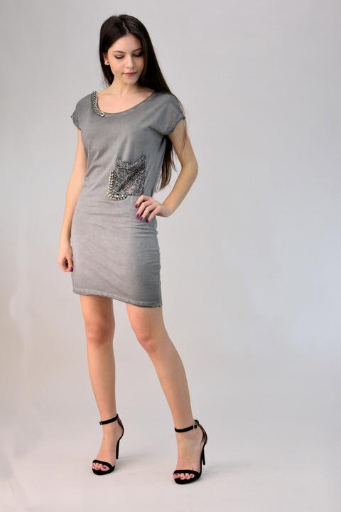 Φόρεμα μίνι με τρουκ - Γκρι