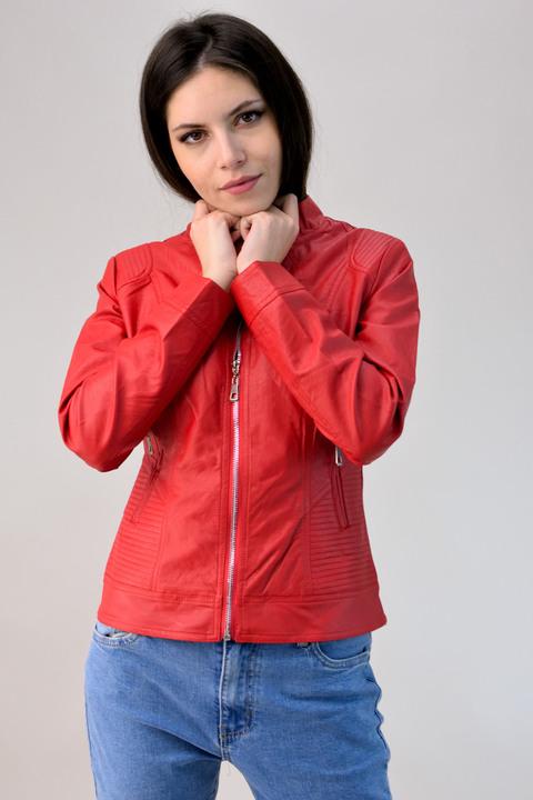 Jacket με όψη δερματίνης  - Κόκκινο