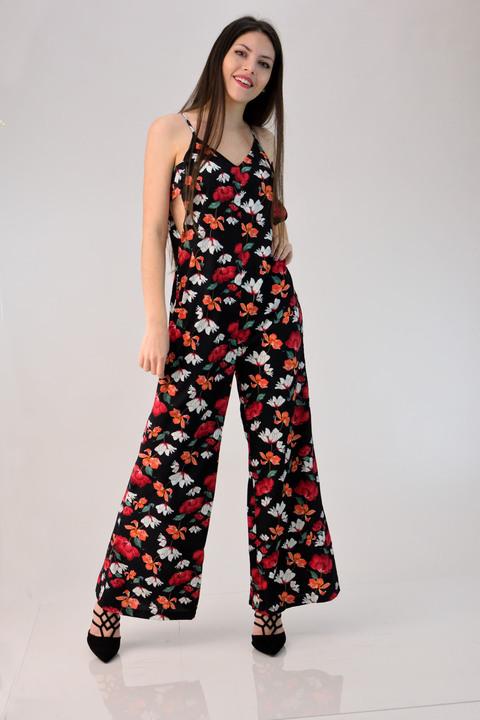 Ολόσωμη φόρμα φλοράλ - Κόκκινο