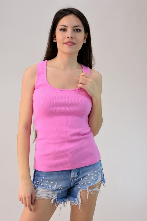 830af55d05a0 Μπλούζα αμάνικη σε ριπ ύφανση - Ροζ ...