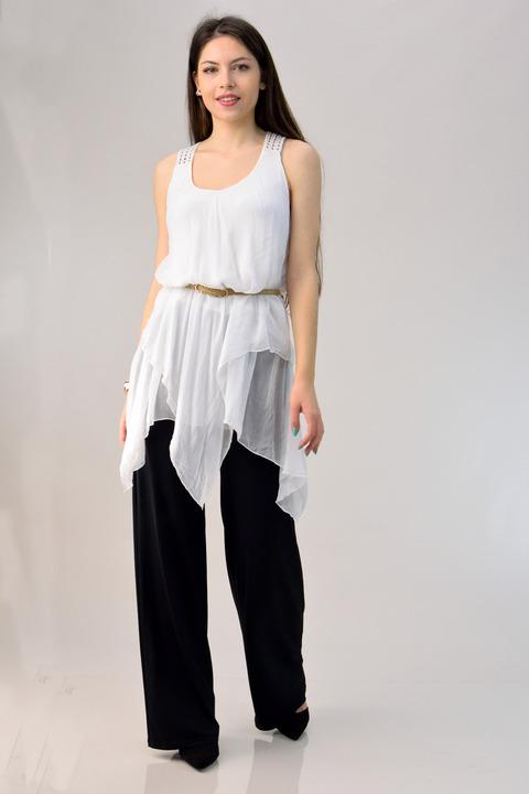 Μεταξωτή μπλούζα με δαντέλα και μύτες - Λευκό
