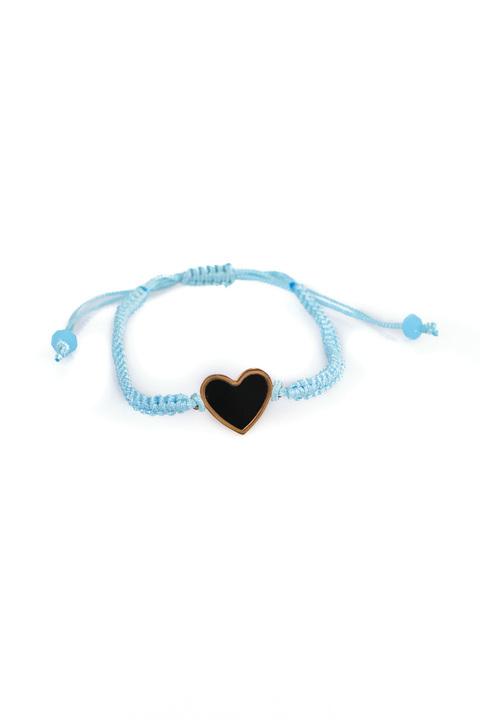 """Βραχιόλι μακραμέ """"καρδιά"""" - Γαλάζιο"""