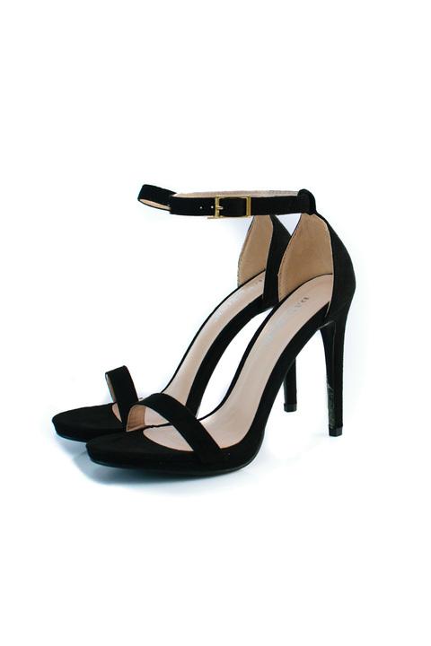 Πέδιλα ψηλοτάκουνα suede - Μαύρο