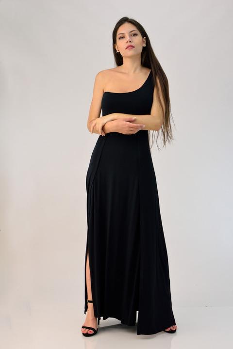 Φόρεμα μάξι με έναν ώμο - Μαύρο