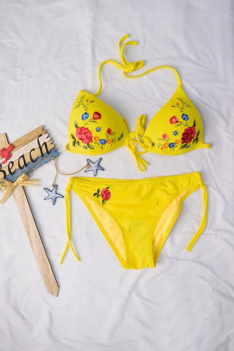Σετ bikini με κέντημα - Κίτρινο