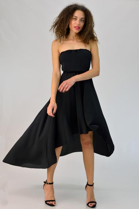 Φόρεμα στράπλες με ανοιχτή πλάτη - Μαύρο