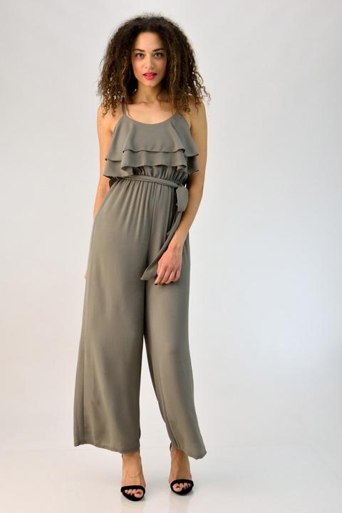 Ολόσωμη φόρμα με βολάν και ζώνη - Γκρι