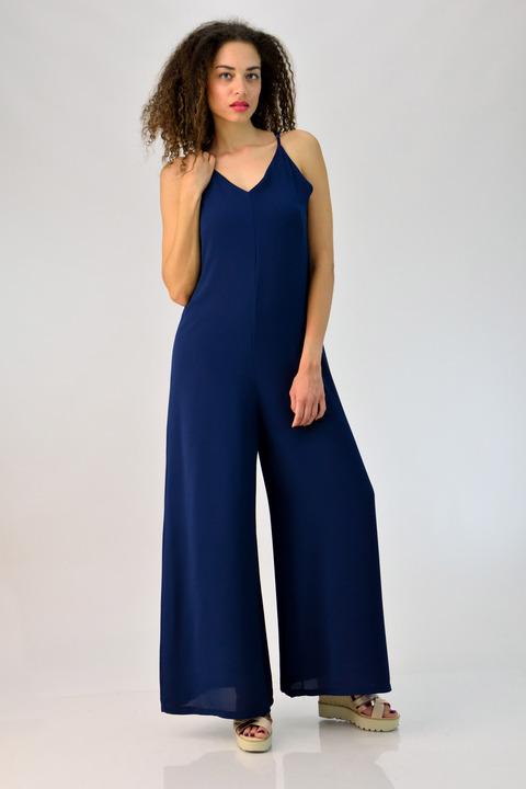 Ολόσωμη φόρμα με λεπτή ρυθμιζόμενη τιράντα - Μπλε Σκούρο