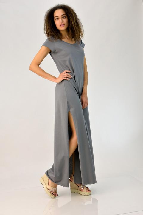 7bfee4d02d26 Φόρεμα μάξι με ανοίγματα - Ανθρακί ...