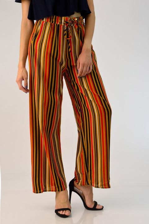 Παντελόνα ριγέ με ζώνη - Κεραμιδί