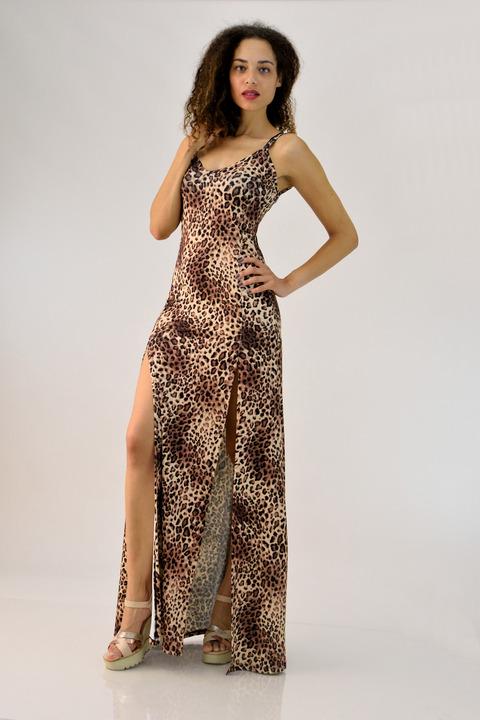 52f6e1941c71 Μακρύ φόρεμα animal print - Animal Print ...