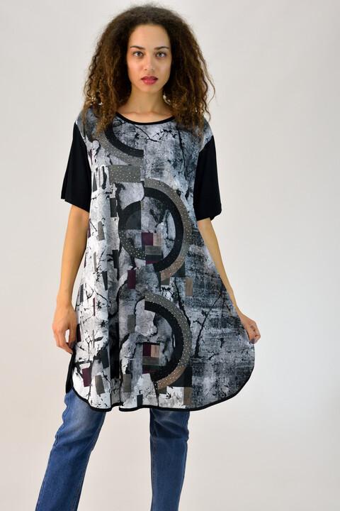 Μπλουζοφόρεμα κοντομάνικο εμπριμέ - Μαύρο