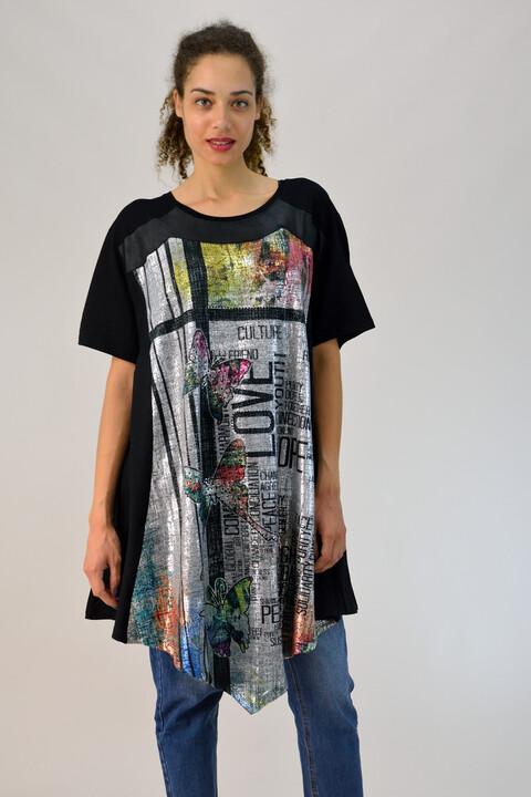 Μπλουζοφόρεμα με τύπωμα και μύτες - Μαύρο