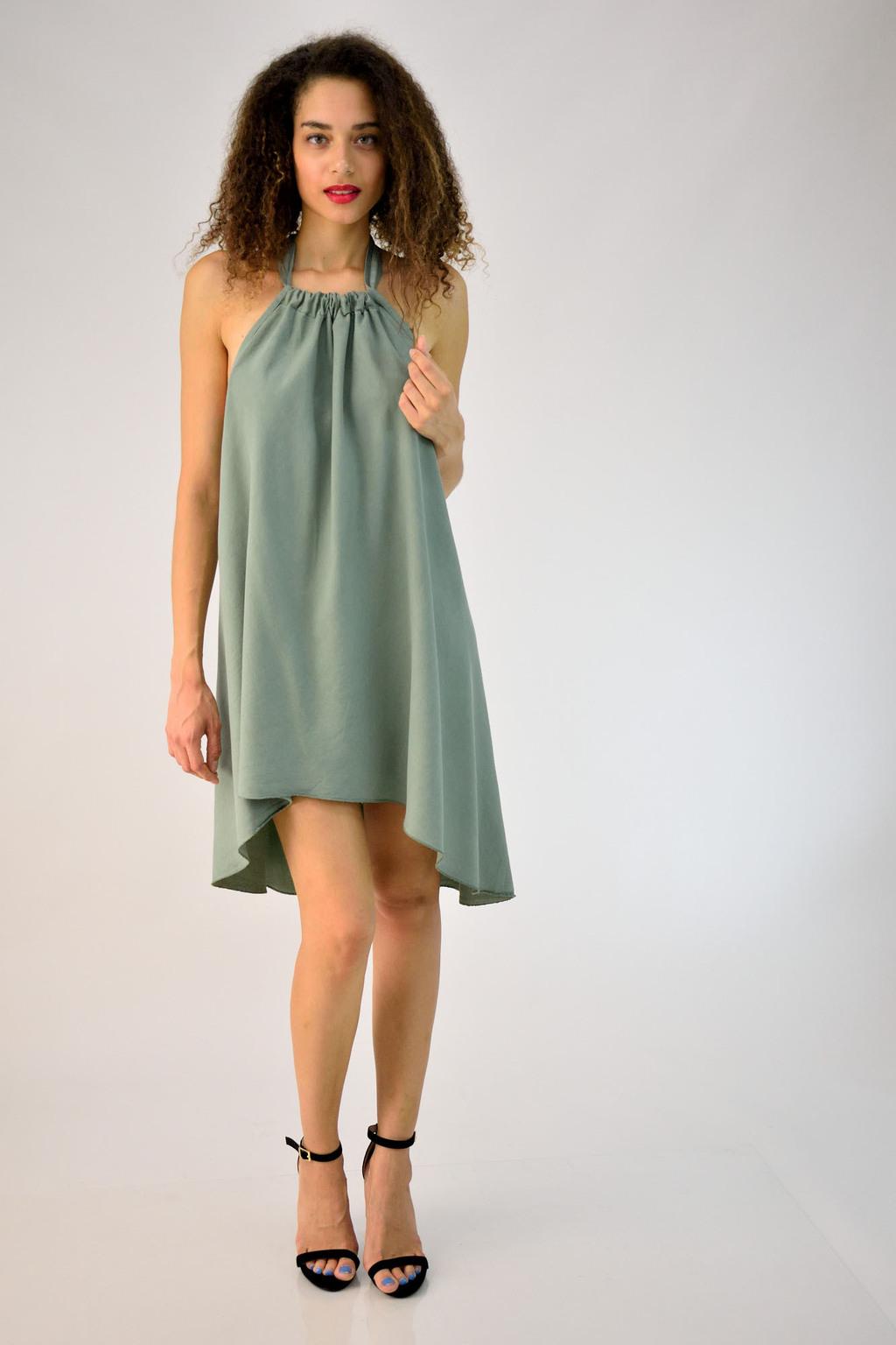 8c8491e65dc1 Μίνι φόρεμα με δέσιμο στον λαιμό