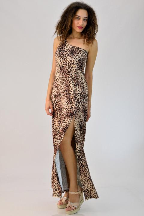 6afa9a12cd63 Μακρύ φόρεμα animal print με έναν ώμο - Animal Print ...