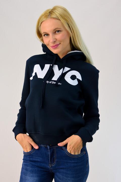 Φούτερ με κουκούλα και τύπωμα 'NYC' - Μπλε Σκούρο