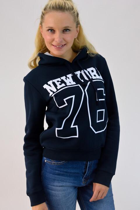 Φούτερ με τύπωμα και κουκούλα 'New York 76' - Μπλε Σκούρο
