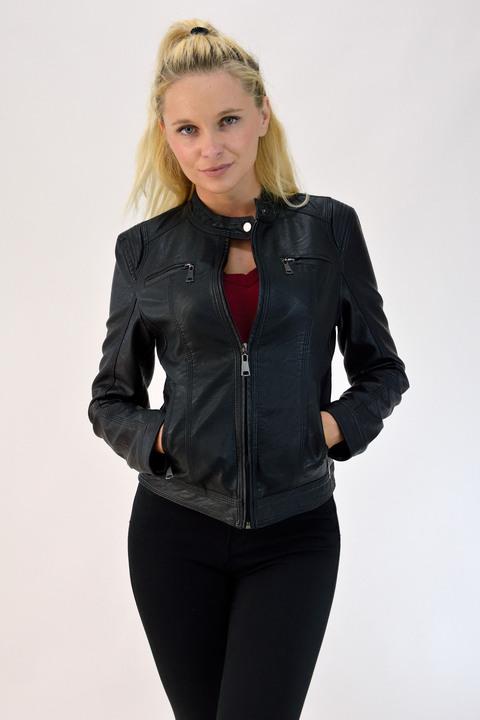 Γυναικείο jacket με όψη δερμάτος - Μαύρο